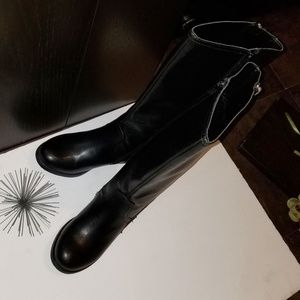 Report Black Faux Leather Boots